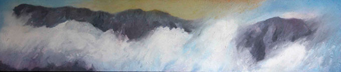 Clouds on Cader Idris  acrylic & enamel by painter Peter Bishop